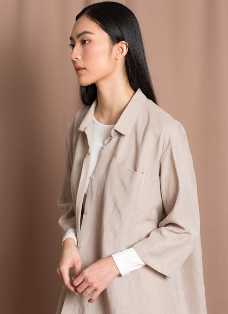 Unisex KAAREM Sot 3/4 Sleeve Button-Up Pocket Shirt - Beige
