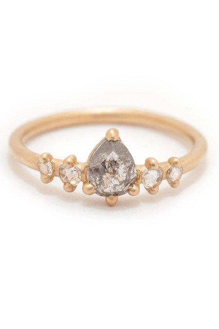 Valley Rose Pear Rose Cut Diamond 5 Stone Ring - Grey
