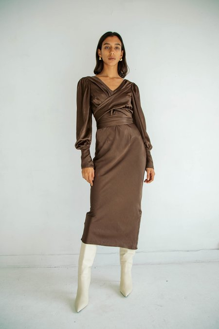 The Line By K Marfa Long Sleeve Dress - Chocolate