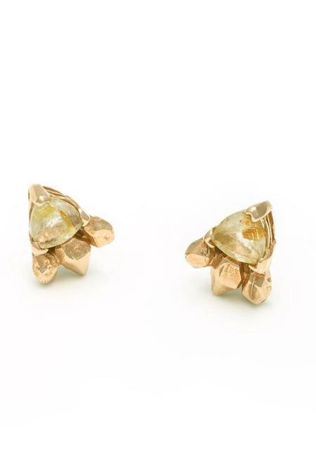 Angela Monaco Feather Spear Earrings - Rose Gold/Rutilated Quartz