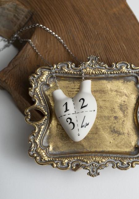 Studio Elica 1, 2, 3, 4 Porcelain Anatomical Heart Necklace