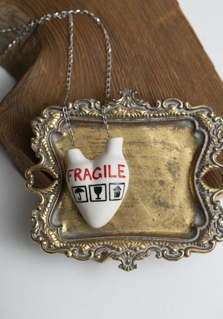 Studio Elica Fragile Porcelain Anatomical Heart Necklace
