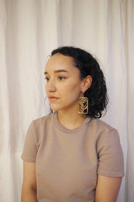 Yu Yu Shiratori La Rosa Tarjeta Earrings - Brass