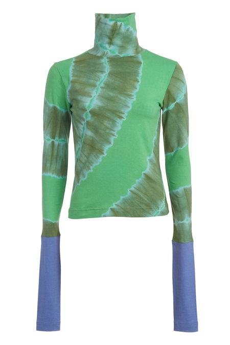 Abacaxi Dip-Dye Turtleneck - Sage green/Bright green/Blue