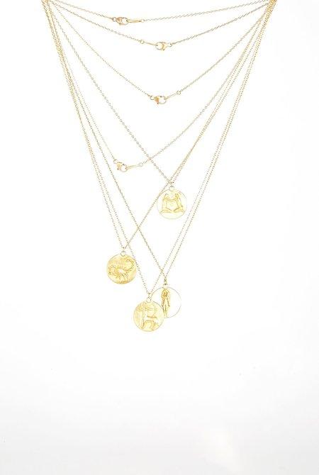 MARIAN MAURER Zodiac Medal Necklace - 18K yellow gold