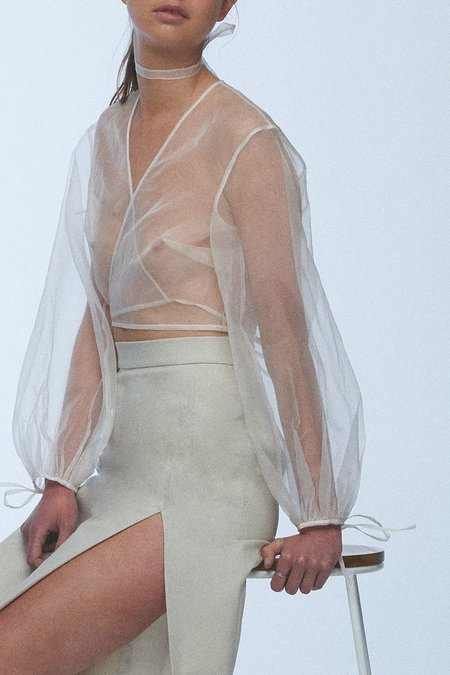 baaby Silk Organza Wrap Top - Ivory
