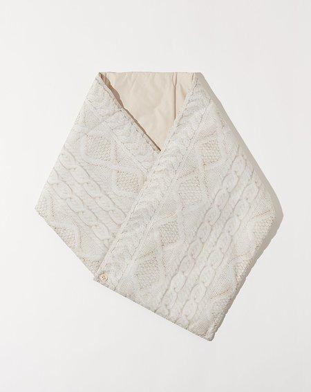 Kapital Cable Knit Print Nylon Oyse Snood Scarf - Ecru