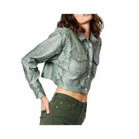 Etica Boyfriend Cropped Shirt - Olive Green