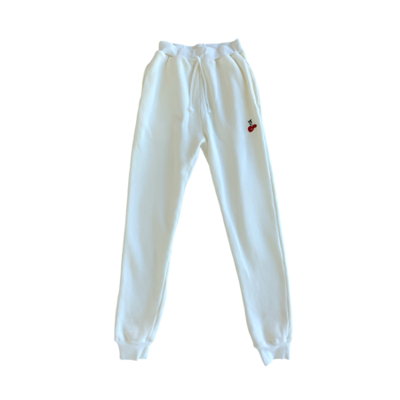 HVN Embroidered Cherry Sweatpant - White