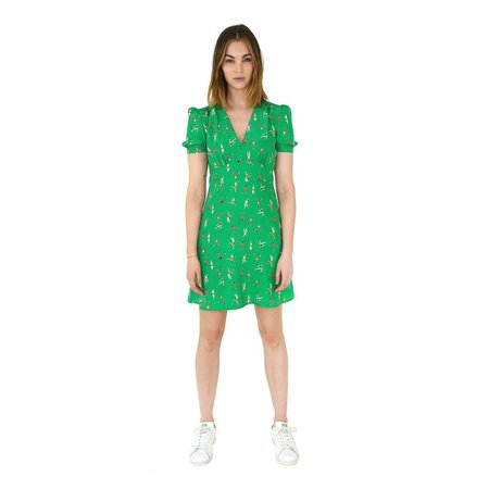HVN Mini Paula Deep V Dress - green