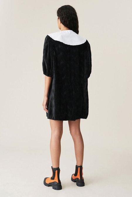 Ganni Pleated Satin Wide Dress - Black