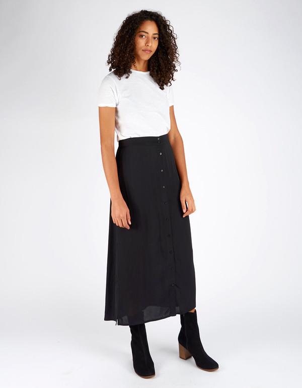 Ali Golden Button Down Skirt Black