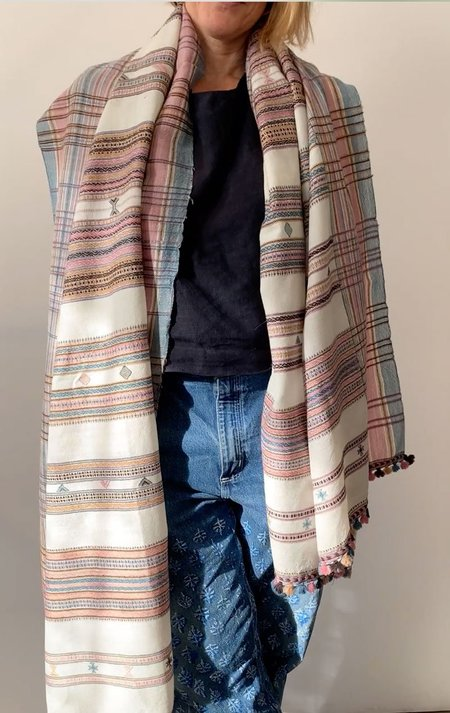 Two Wool Scarf - Rose/Cream