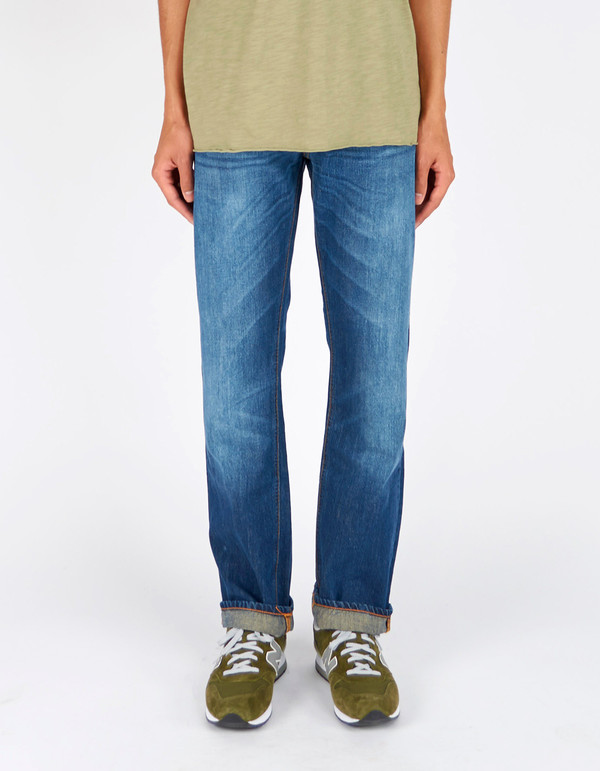 Men's Nudie Loose Leif Classic Crumble Washed Indigo