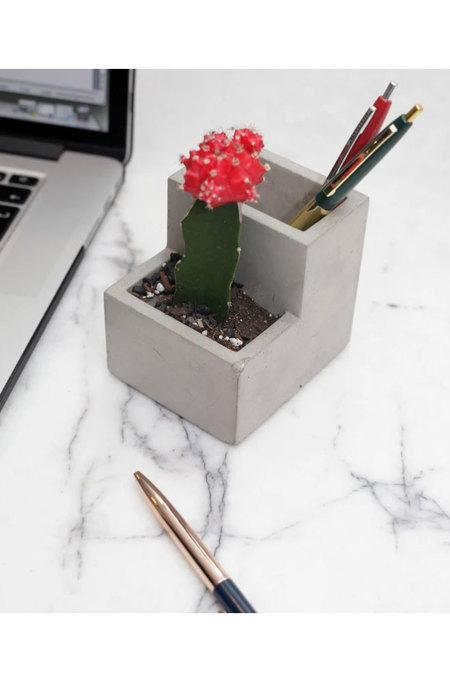 Kikkerland Small Concrete Desktop Planter