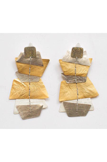 dos riberas OCEAN Long Earrings - Silver/Gold