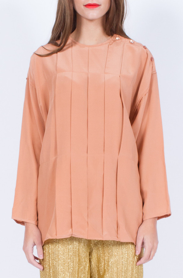 Yo Vintage! BLUSH SILK LONG SLEEVE TOP