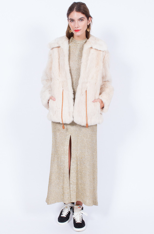 Yo Vintage! CREAM FUR JACKET
