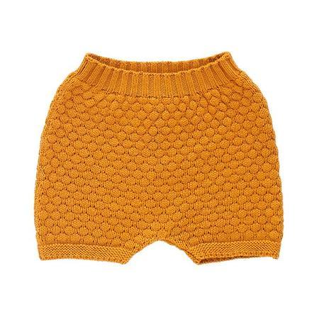 KIDS Oeuf Child Honeycomb Knitted Shorts - Ochre Yellow