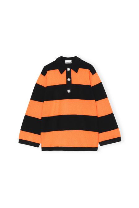 Ganni Cashmere Stripe Polo - Orange/Black