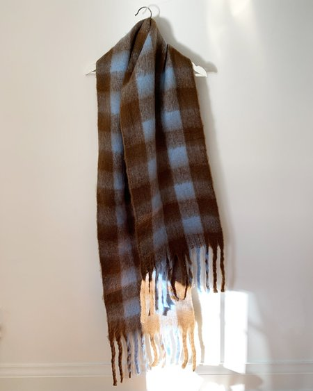 N3 Dede Buffalo Plaid Scarf - Brown/Blue