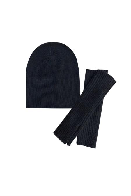 KES Knit Beanie & Fingerless Glove Set - Black