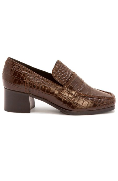 Nicole Saldana sage embossed calf loafers - chestnut