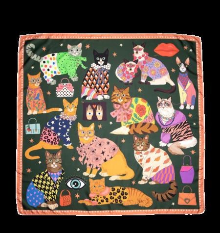 Karen Mabon Fashion Cats Silk Scarf - Green