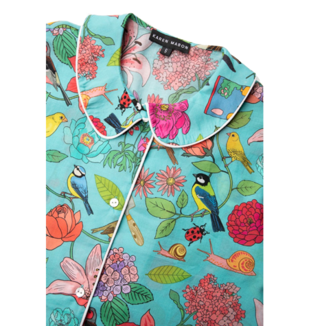 Karen Mabon Garden Birds Short Pyjama Set - Blue