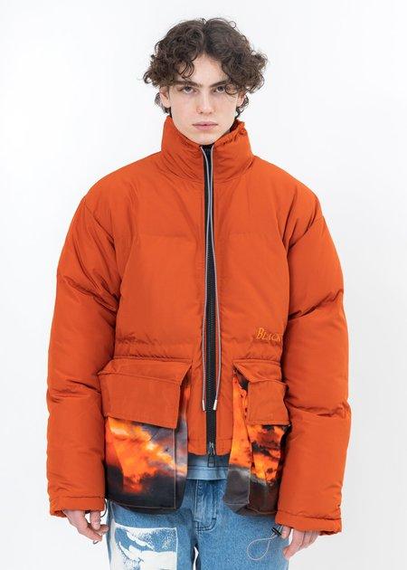 Black Lux SUNSET Print Pockets Down Jacket - Brown
