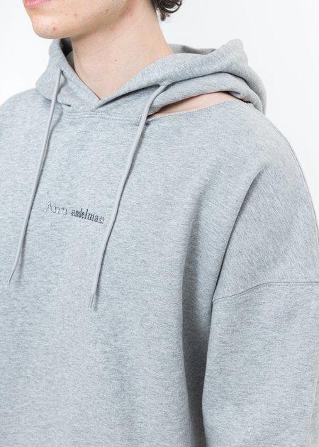 Ann Andelman Logo Cut Out Hoodie - Grey Rhinestone