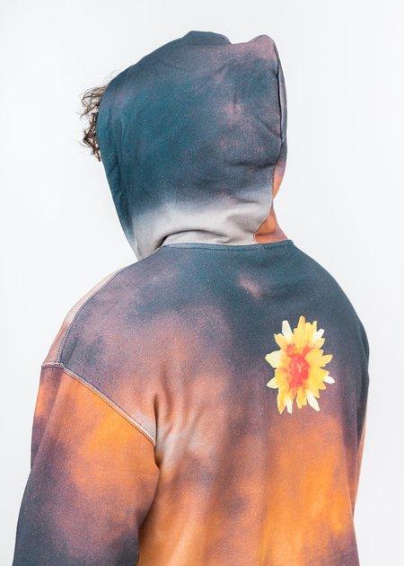 Black Lux Hoodie - Multi Sunset Cloud Print
