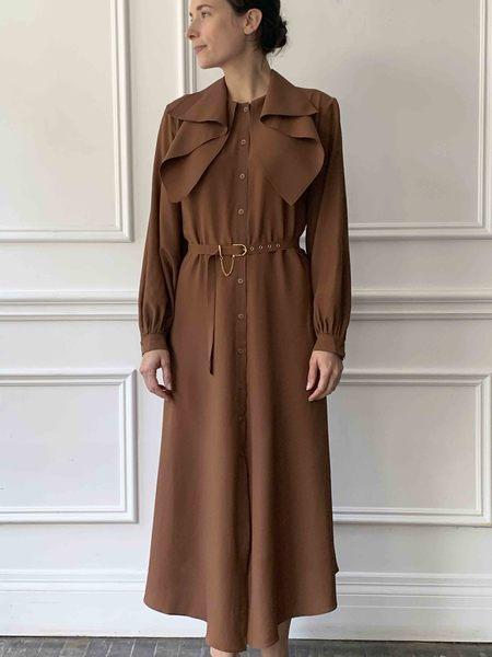 Veronique Leroy Crepe Dress - Chestnut