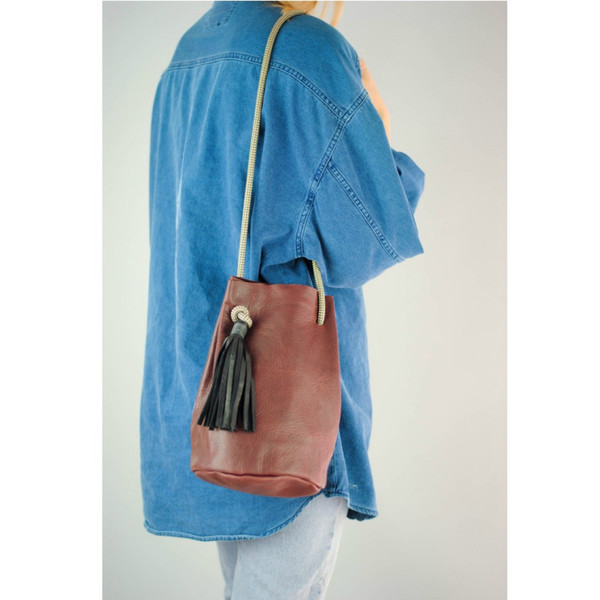 Eleven Thirty Christie Bucket Bag in Bordeaux