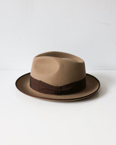 [Pre-loved] M.D. Barbisio Ribbon Trim Hat - Stone