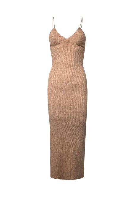 KES x Lars Full Length Knitted Slip Dress - Camel