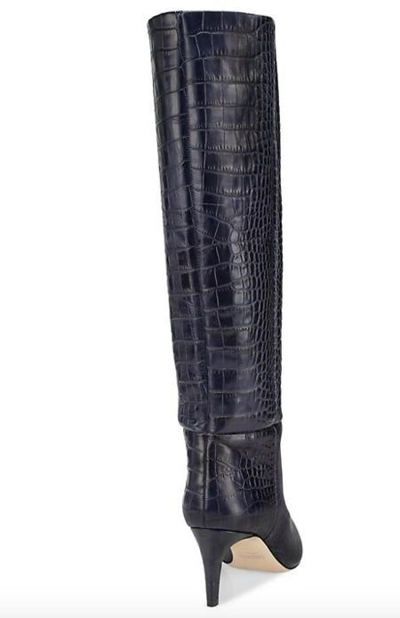 Paris Texas Moc Croc Stiletto Boot - MIDNIGHT 2901