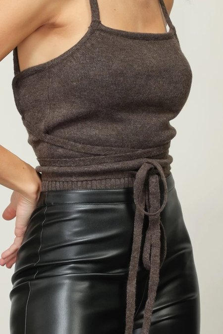 Line & Dot Wrap Sweater Top - Mocha