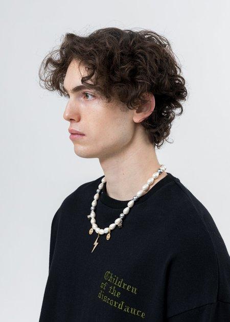 ASTAR HADES Pearl Smile Face Flash Necklace - silver