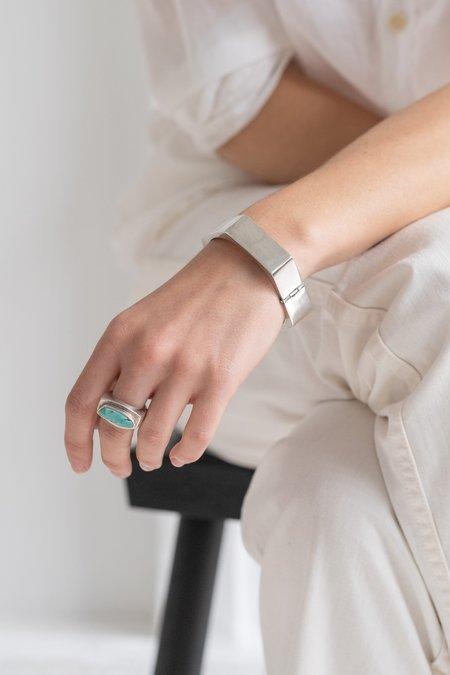 VINTAGE MODERN FREEFORM TURQUOISE RING - Sterling Silver