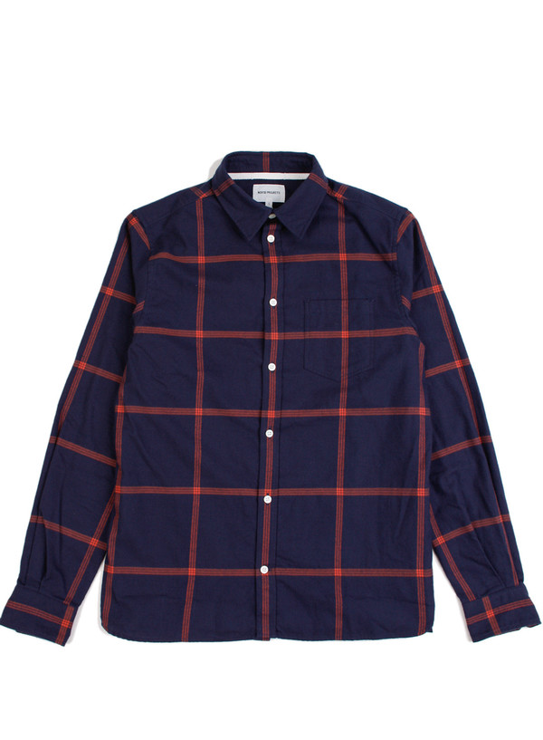 Men's Norse Projects Hans Brushed Check - Elemental Navy