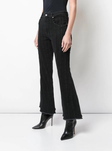 Mugler Cropped Flared Jeans - black