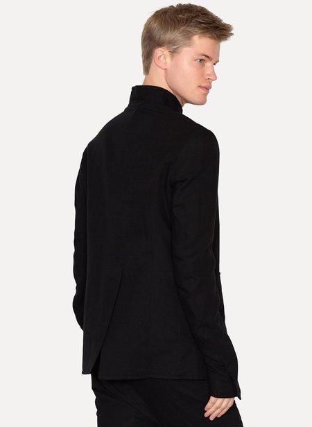 OBSCUR High Collar Cotton Blazer - black