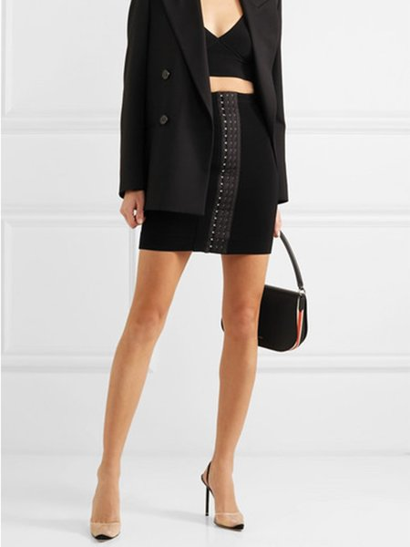 Mugler Jupe Mini Eyelet Skirt - Black