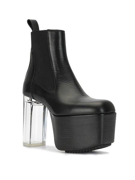 Rick Owens Transparent Heel Kiss Boots - BLACK