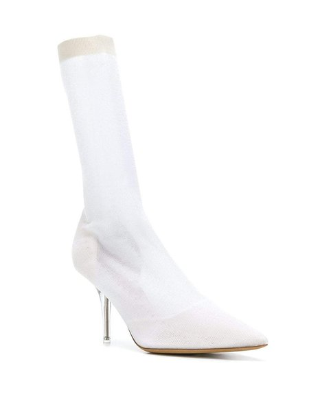 YEEZY Transparent Knit Ankle Boots - white