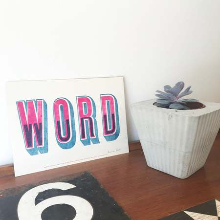 Hooksmith Press Word print - blue/pink