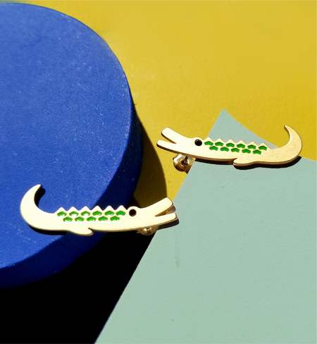 Matter Matters Crocodile brothers earrings - 18K gold plated Stainless steel