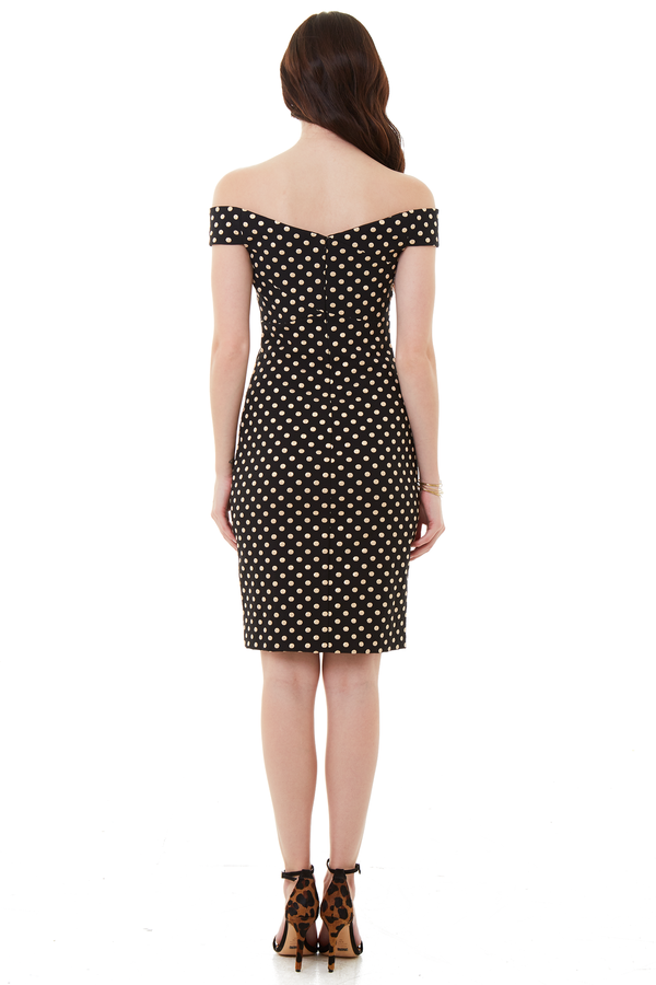 Nicole Miller Off the Shoulder Dress Black and Gold Polka Dot