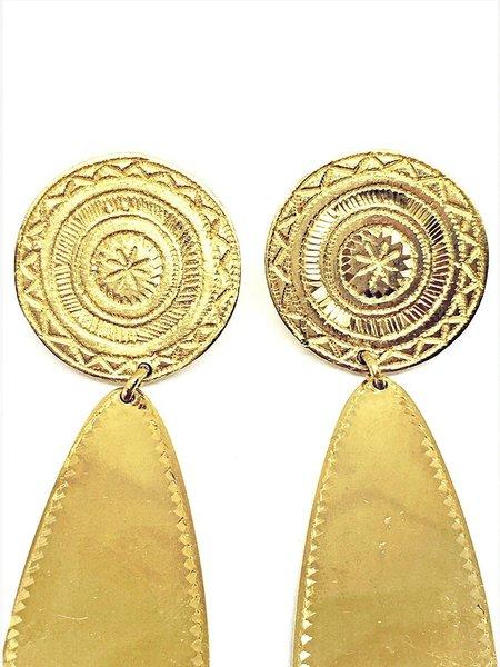 Ombre Claire large palmettes earrings - vermeil